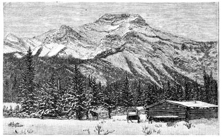 The Rocky Mountains, vintage engraved illustration. Journal des Voyage, Travel Journal, (1880-81). Banco de Imagens
