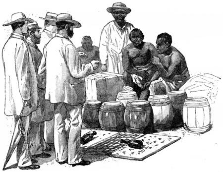 merchant: Market on the West African coast, vintage engraved illustration. Journal des Voyage, Travel Journal, (1880-81). Stock Photo