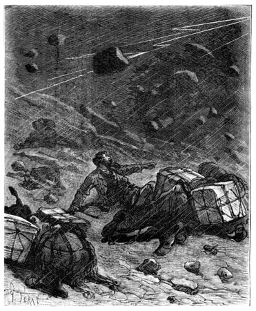 calamity: The vortex of wind and rain the terrace in mules, vintage engraved illustration. Journal des Voyage, Travel Journal, (1880-81).
