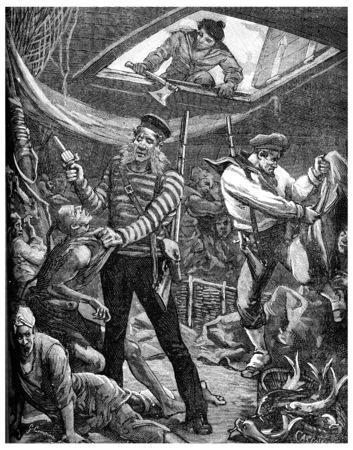 Yellow brigands, Sailors boarding the sampan, vintage engraved illustration. Journal des Voyage, Travel Journal, (1880-81).