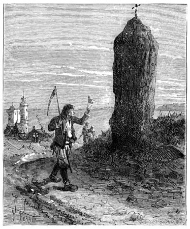 The Tour de France a small Parisian, Menhirs of Brittany, vintage engraved illustration. Journal des Voyage, Travel Journal, (1880-81). Reklamní fotografie