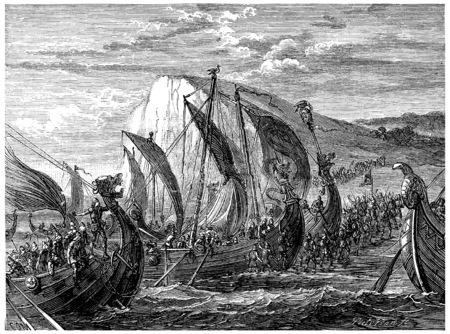 vikingo: Aterrizaje Vikingo, ilustración de la vendimia grabado. Journal des Voyage, Diario de viaje, (1880-1881). Foto de archivo