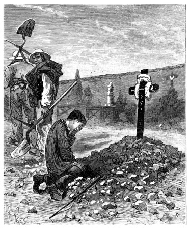 He cried the stranger as he was weeping over the grave of his father, vintage engraved illustration. Journal des Voyage, Travel Journal, (1880-81).