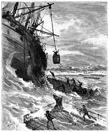 Two thousand miles across South America, Man is tranship on the raft, vintage engraved illustration. Journal des Voyage, Travel Journal, (1880-81).