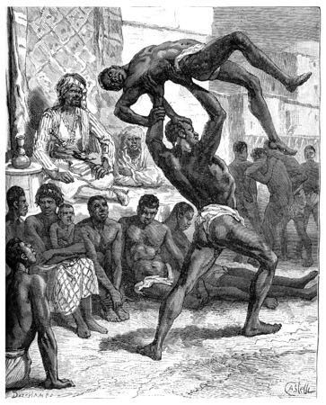 wrestler: Slavery in Sudan. The winner taken off his opponent at arms length, vintage engraved illustration. Journal des Voyage, Travel Journal, (1880-81).