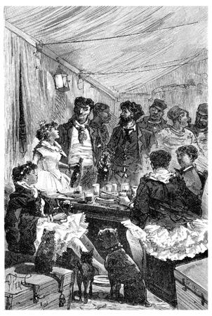 mujeres sentadas: Estaban sentados alrededor de una mesa con las mujeres en las medias y los tutús rosa, ilustración de la vendimia grabado. Journal des Voyage, Diario de viaje, (1880-1881).