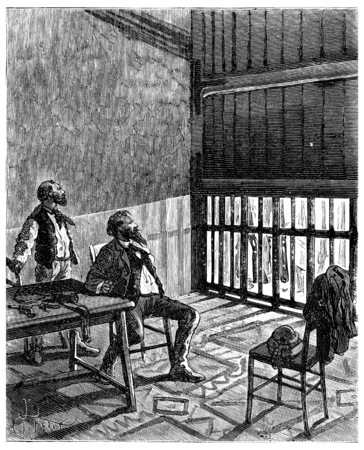 discovered: Two thousand miles across South America. The withdrawal of the panel discovered an iron gate, vintage engraved illustration. Journal des Voyage, Travel Journal, (1880-81).