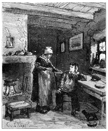 They hurt me the woman moaned, vintage engraved illustration. Journal des Voyages, Travel Journal, (1880-81). Banco de Imagens