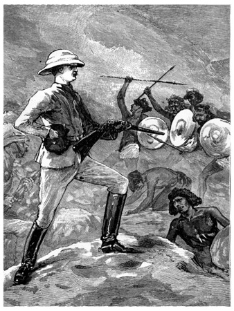 colonel: Colonel Burnaby at the Second Battle of teb, vintage engraved illustration. Journal des Voyages, Travel Journal, (1880-81).
