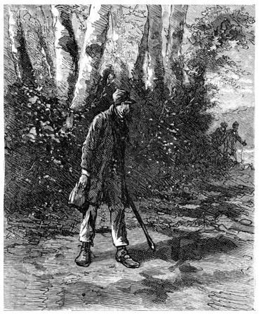 The German turned sharply, vintage engraved illustration. Journal des Voyages, Travel Journal, (1880-81). Stock fotó