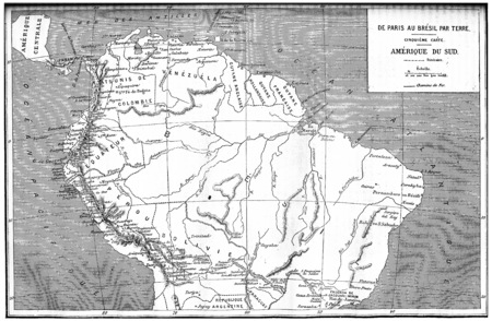 Map from paris to brazil, south america, vintage engraved illustration. Journal des Voyages, Travel Journal, (1880-81). Фото со стока