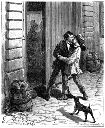 In France around a small Parisian, Maurice recognized the little Parisian, vintage engraved illustration. Journal des Voyages, Travel Journal, (1880-81).