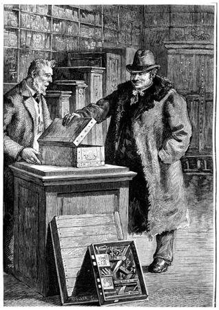 William J. Morlan, vintage engraved illustration. Jules Verne Cesar Cascabel, 1890. illustration