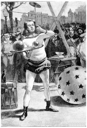 trickster: Jean Cascabel, vintage engraved illustration. Jules Verne Cesar Cascabel, 1890.