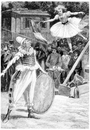Clou-de-Girofle and Napoleona, vintage engraved illustration. Jules Verne Cesar Cascabel, 1890. 스톡 콘텐츠