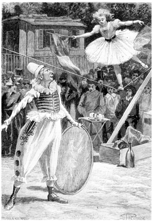 Clou-de-Girofle and Napoleona, vintage engraved illustration. Jules Verne Cesar Cascabel, 1890. Stock Photo