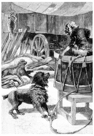 john: Wagram, Marengo, John Bull and Jako, vintage engraved illustration. Jules Verne Cesar Cascabel, 1890.