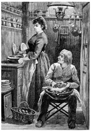 black lady talking: Yes, boss, brilliant idea, vintage engraved illustration. Jules Verne Cesar Cascabel, 1890. Stock Photo