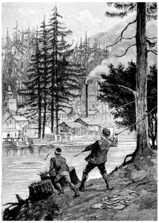 john: John and Alexander was engaged in fishing fun, vintage engraved illustration. Jules Verne Cesar Cascabel, 1890.
