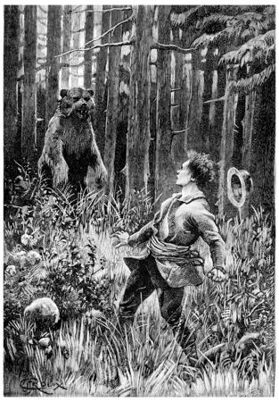 At twenty paces, stood a huge bear, vintage engraved illustration. Jules Verne Cesar Cascabel, 1890. illustration