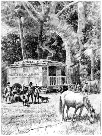 halted: The Cascabels had halted, vintage engraved illustration. Jules Verne Cesar Cascabel, 1890. Stock Photo