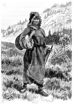 orphan: Kayette took southerly direction, vintage engraved illustration. Jules Verne Cesar Cascabel, 1890.
