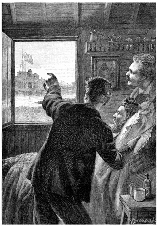 John showed the American flag, vintage engraved illustration. Jules Verne Cesar Cascabel, 1890.