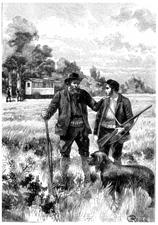 old rifle: Serge can not hear it without feeling a deep emotion, vintage engraved illustration. Jules Verne Cesar Cascabel, 1890. Stock Photo