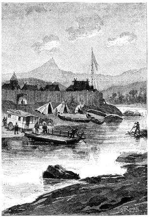 transported: A ferry transported the Belle Caravan on the right bank, vintage engraved illustration. Jules Verne Cesar Cascabel, 1890.