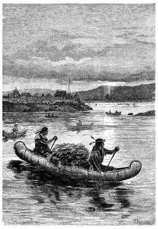 vessels: Aboard these fragile vessels that Indians are venturing., vintage engraved illustration. Jules Verne Cesar Cascabel, 1890.