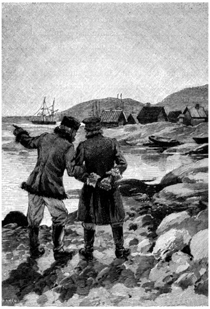 extremity: Two men were talking to the extremity of the port, vintage engraved illustration. Jules Verne Cesar Cascabel, 1890.