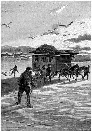 finally: They finally left the land of America, vintage engraved illustration. Jules Verne Cesar Cascabel, 1890. Stock Photo