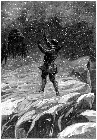 icefield: Icefield had large cracks, vintage engraved illustration. Jules Verne Cesar Cascabel, 1890. Stock Photo