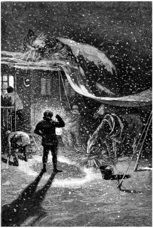 halt: Everyone involved in organizing the halt, vintage engraved illustration. Jules Verne Cesar Cascabel, 1890. Stock Photo