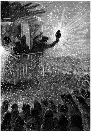 resistance: If they attack us, resistance is impossible, vintage engraved illustration. Jules Verne Cesar Cascabel, 1890.