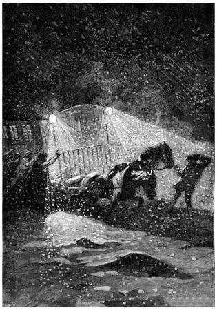 The storm raged with more fury, vintage engraved illustration. Jules Verne Cesar Cascabel, 1890. Stock Photo