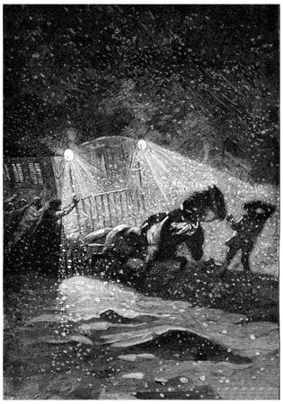 fury: The storm raged with more fury, vintage engraved illustration. Jules Verne Cesar Cascabel, 1890. Stock Photo
