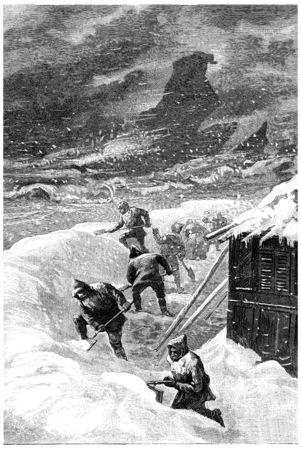 그것은 철도의 종류와 같았고, 빈티지 새겨 져있는 일러스트 레이션이었다. 쥘 베른 세자르 캐스케이블, 1890.