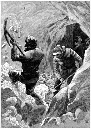 We dig a second corridor, vintage engraved illustration. Jules Verne Cesar Cascabel, 1890.