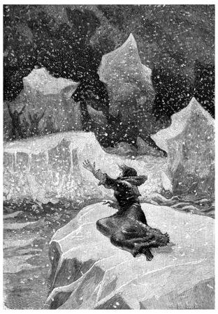 calamity: Help! Help! Jean, vintage engraved illustration. Jules Verne Cesar Cascabel, 1890.