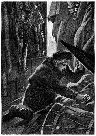 pulled: Sandre pulled the nugget of hiding, vintage engraved illustration. Jules Verne Cesar Cascabel, 1890.