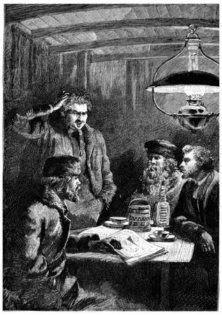 scratches: Cascabel scratches his head in hair pulling, vintage engraved illustration. Jules Verne Cesar Cascabel, 1890.