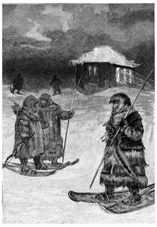 packets: The packets were fur walking, vintage engraved illustration. Jules Verne Cesar Cascabel, 1890.