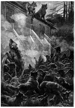 rage: Nothing can stop the rage of the beasts, vintage engraved illustration. Jules Verne Cesar Cascabel, 1890. Stock Photo