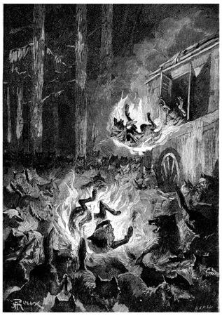 The wolves flee in terror, vintage engraved illustration. Jules Verne Cesar Cascabel, 1890.