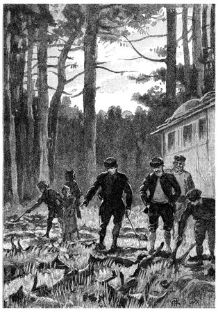 fifty: Fifty wolves were lying on the floor, vintage engraved illustration. Jules Verne Cesar Cascabel, 1890.