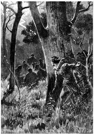Seven men were there, vintage engraved illustration. Jules Verne Cesar Cascabel, 1890.