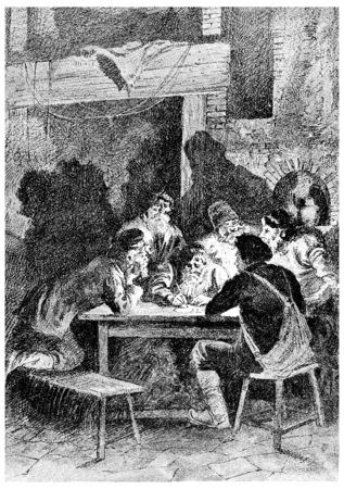 wrote: Rostof wrote a letter, vintage engraved illustration. Jules Verne Cesar Cascabel, 1890. Stock Photo