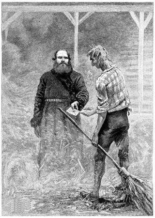 peasant: The peasant handed a letter, vintage engraved illustration. Jules Verne Cesar Cascabel, 1890.