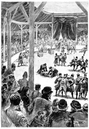 squad: Suddenly a squad of Cossacks burst, vintage engraved illustration. Jules Verne Cesar Cascabel, 1890. Stock Photo